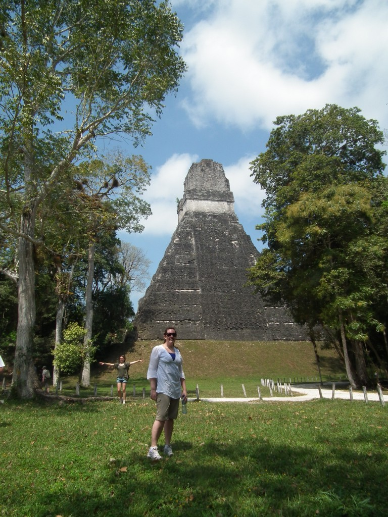 First glimpse of the temples in Tikal National Park
