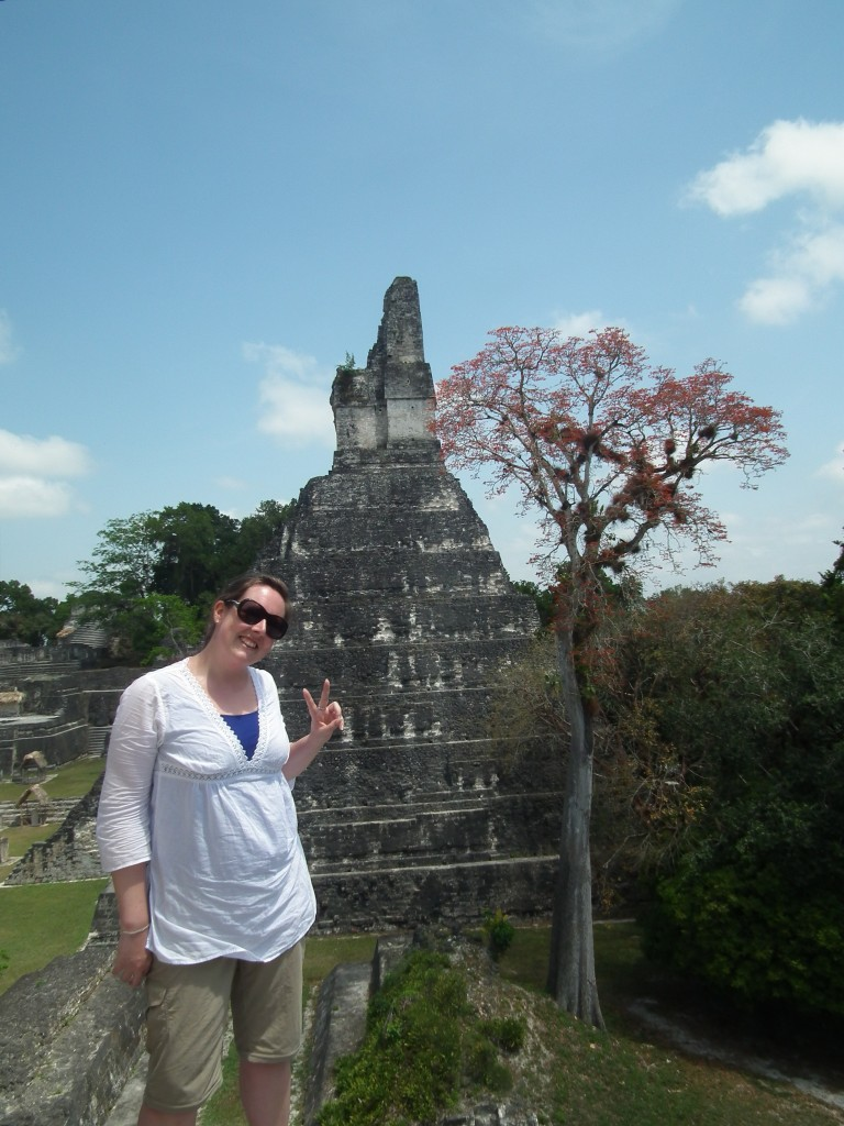 Climbing up onto small platforms and up ancient steps to explore Tikal