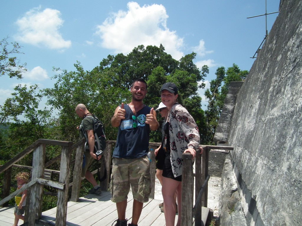 Our tour leader and group members getting to the top of Temple IV at Tikal