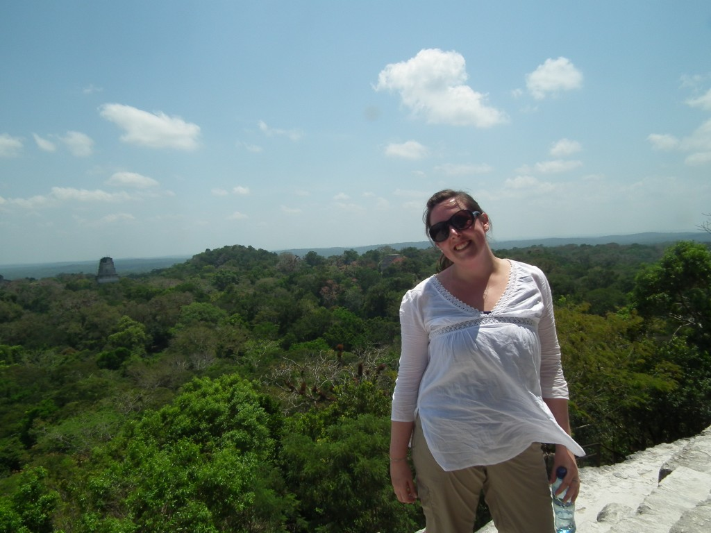 Standing at the highest point of the Tikal Temple IV! For someone who is scared of heights, I was very proud of this moment.