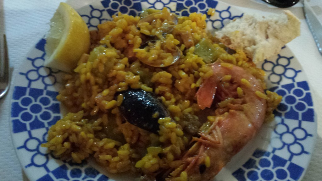 A delicious paella. Look at the size of the shrimp!