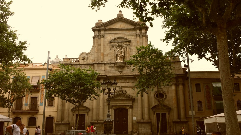 The beautiful church in the square in La Barceloneta