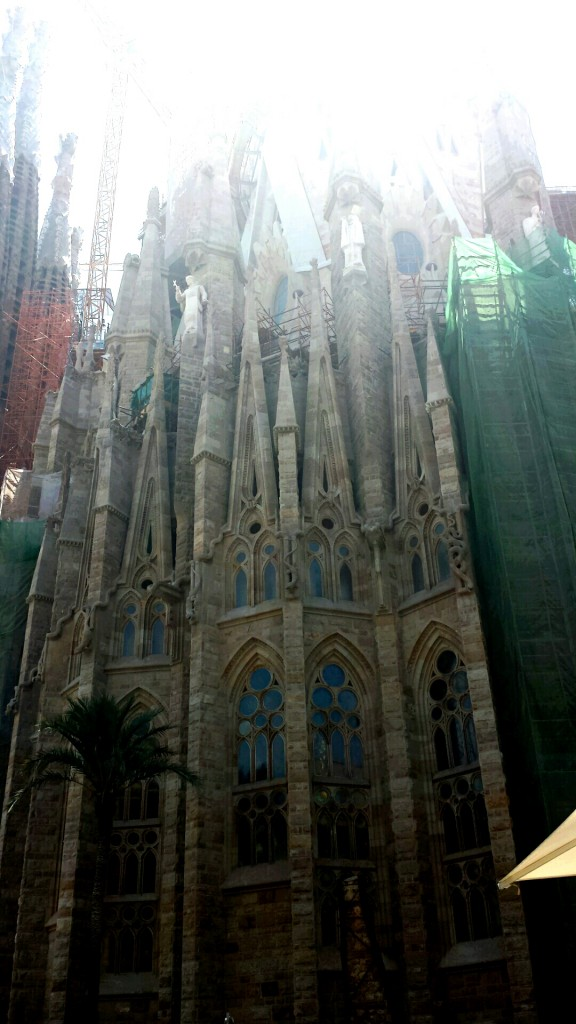 Sun shining down on the Sagrada Familia