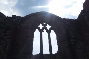 A beautiful intact window structure at Finchale Priory.