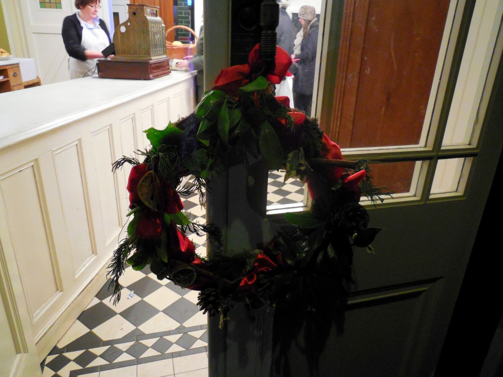 christmas wreath at bakery in edwardian town beamish museum