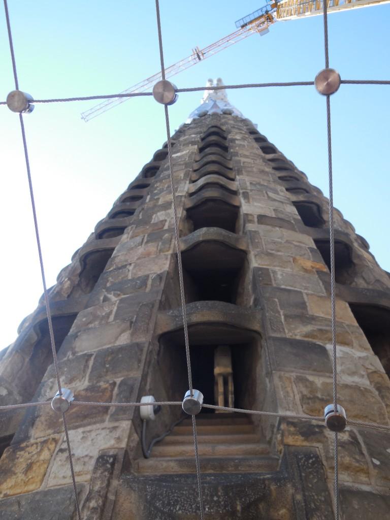 Looking up at tower of La Sagrada Familia