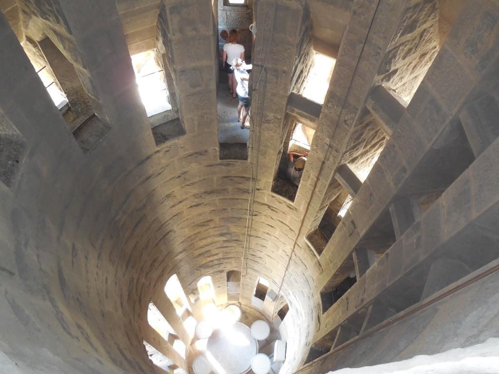 Looking down inside Nativity Tower in La Sagrada Familia