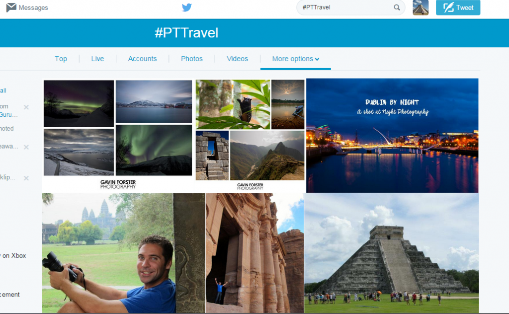 Screenshot of #PTTravel search on Twitter