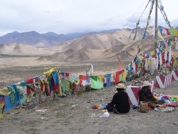 Prayer flags and Tibetan people