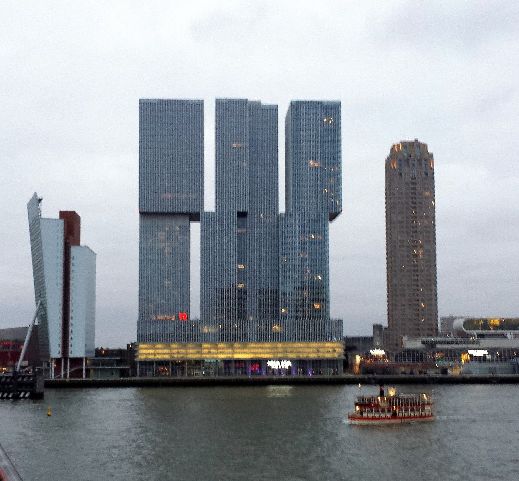 Waterfront skyline with De Rotterdam