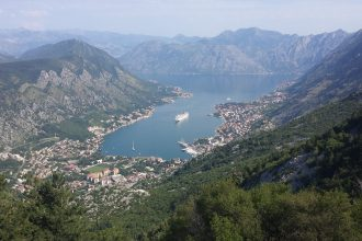 Aerial view of Kotor, Montenegro