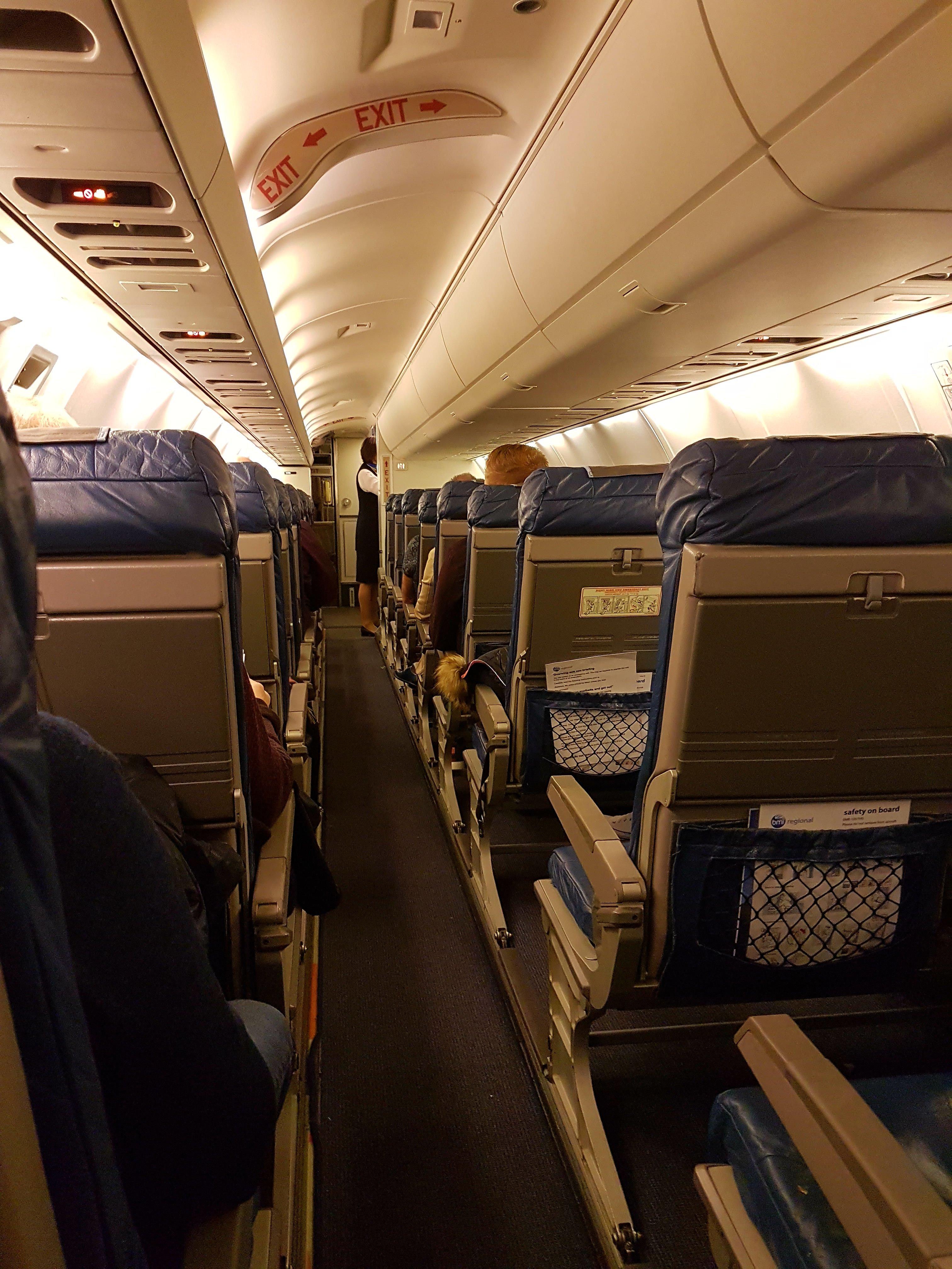 Interior of the Embraer jet aircraft BMI Regional